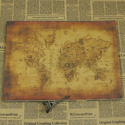 Large Vintage Style Retro Paper Poster Globe Old World Map Gifts 71x51cm Cool