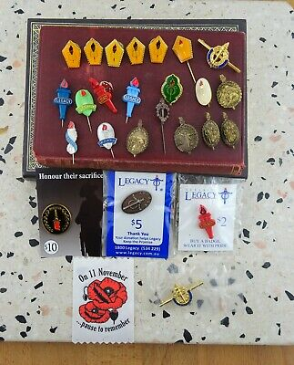 Lot of Legacy & Remembrance Day Badges & Pins Some on Cards
