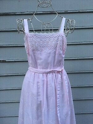 360fc34ef3799 Vintage Lanz Originals Pink Eyelet Cotton Maxi Dress Size 9/10 (see  Measures)