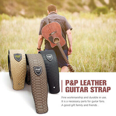 Acoustic Classic PU Leather Electric AU Guitar Strap Soft Basses Luxury pV