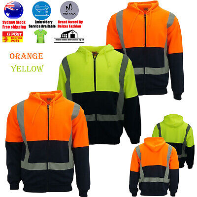 Hi-Vis Reflect Tape Safety Work Wear Warm Winter Hoodie Jumper Jacket  Men's
