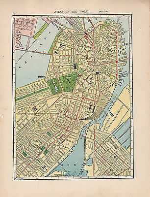 1909 Map ~ Boston City Plan Environs Streets Public Buildings Station