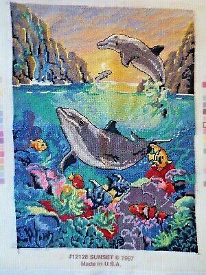 Craft Cross Stitch Completed  Dolphins Sunset 1997 Candamar Usa