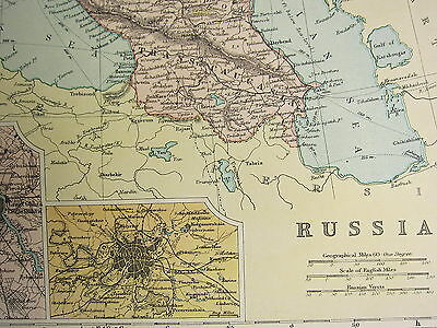 1905 Antique Map ~ Russia Finland Poland St Petersburg Moscow Environs Odessa