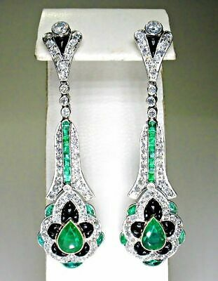 Gorgeous Fish Shape Long Drop Earrings With Emerald, Onyx & White CZ 30.00 CTW