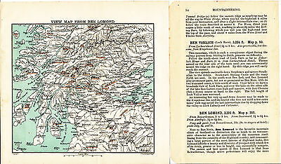 Scotland Mountaineering 1908 orig. map + guide (14 p.) Ben-Lomond Coolin-Hills