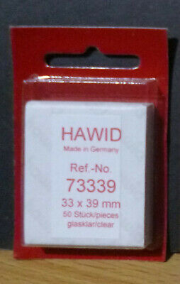 HAWID STAMP MOUNTS CLEAR Pack of 50 Individual 33mm x 39mm - Ref. No. 73339