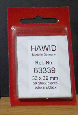 HAWID STAMP MOUNTS BLACK Pack of 50 Individual 33mm x 39mm - Ref. No. 63339