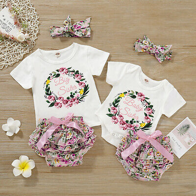 AU Toddler Baby Girl Sisters Clothes T-shirt Romper Short Pants Headband Outfits