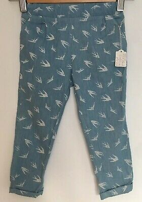 Swallow Print Lightweight Cotton Trousers 3-4 Years Girl Summer Blue Chinos