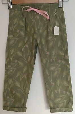 Sage Green Lightweight Cotton Trousers 3-4 Years Girl Summer Pink Chinos Turn Up