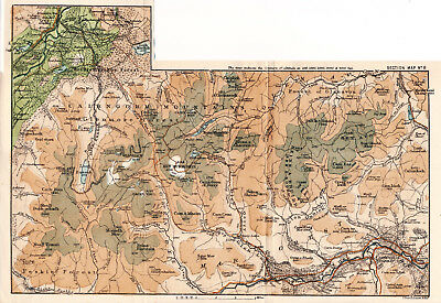 Scotland Braemar Aviemore 1887 small orig map + guide (2 p) Larig Pass Ben Muich