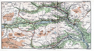 Scotland Pitlochry Blair Atholl 1887 small orig map + guide (5 p) Kinloch Tummel