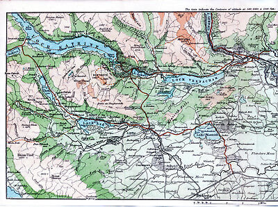 Scotland Callander Trossachs 1887 orig. map + guide (14 p.) Aberfoyle Stirling