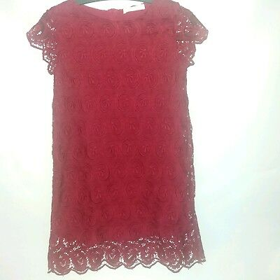 Zara Soft Collection Wine Red Lace Crochet Girl's Dress Party Birthday Age 13-14