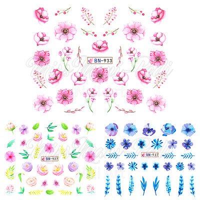 Watercolour Flowers Water Decals Pink Blue Purple Nail Art Stickers Transparent