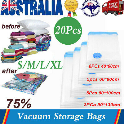 20X Vacuum Storage Bags Compressed Seal Cloth Organiser Vaccum Bag S/M/L/XL