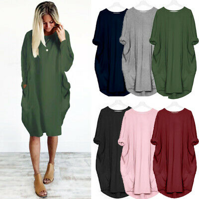 Womens Jumper Mini Dress Ladies Oversized Baggy Long Sleeve Pocket Pullover Tops