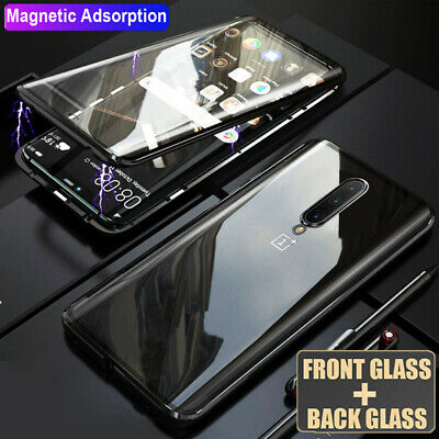 360° Full Protective Tempered Glass Magnetic Metal Case Cover for One Plus 7 Pro