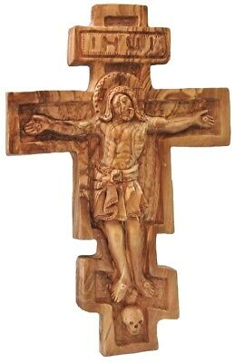 Orthodox Russian Wall Cross with Jesus Crucifix One Solid Piece Olive Wood