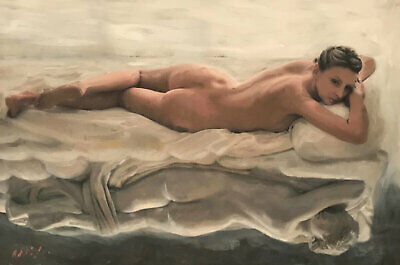 WILLIAM OXER ORIGINAL Sculptured naked nude Pretty sexy Woman Girl PAINTING