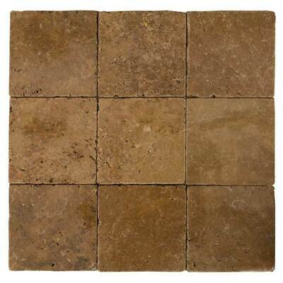 "Walnut Tumbled Travertine Tiles - Sample Order 4""x4"""