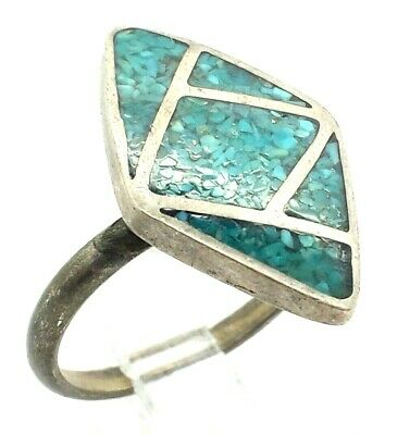 Navajo Inlaid Turquoise Sterling Silver 925 Ring 5g Sz.8.25 NEW283