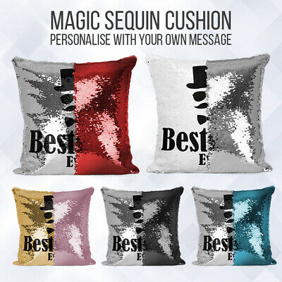 Personalised Fathers Day Sequin Cushion   Message Reveal   Pillow Case & Insert