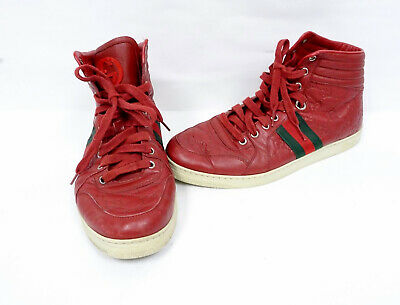 59ed9c8d9 Gucci Men's GG Guccissima Red Web Leather High-top Sneaker 221825 Sz7.G P6