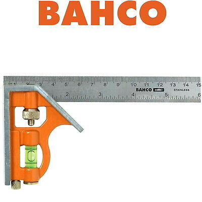 BAHCO 150mm COMBINATION SET SQUARE WITH SPIRIT LEVEL STAINLESS STEEL RULER CS150