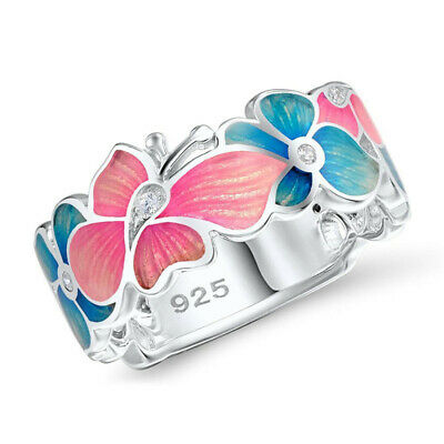 925 Silver Butterfly White Topaz Women Band Ring Jewelry Wedding Gift Size 5-10