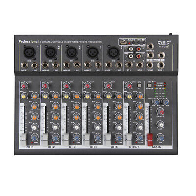 7Channel Digtal Mic Line Audio Mixing Mixer Console Bluetooth Amplifier USB Q3V9