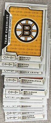 2018-2019 OPC TEAM CHECKLISTS - 1$ each - YOU PICK