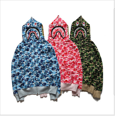 Lover Couple BAPE A Bathing Ape Zip Shark Head Camo Hoodie Coat Sweater Jacket!