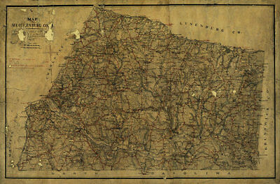 Map of Mecklenburg County Virginia c1864 36x24