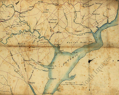 Map of part of Fairfax and Prince William Counties Virginia c1860s 25x20