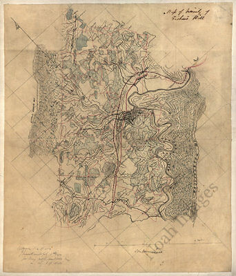 Map of Fisher's Hill Virginia c1864 16x20