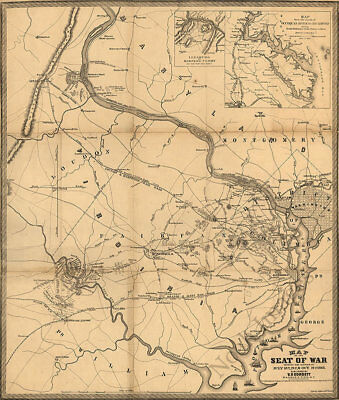Map of the battles of first Manassas and Balls Bluff Virginia c1861 24x28