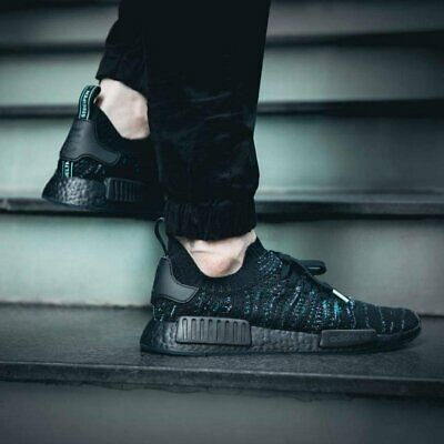new concept 3748f c9a69 ADIDAS NMD R1 STLT X Parley Core Black Mens Trainers Size UK 10 Rare aq0943