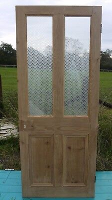 GL29a (31 x 76) Old Victorian Period Glazed Door with Acid Etched Glass
