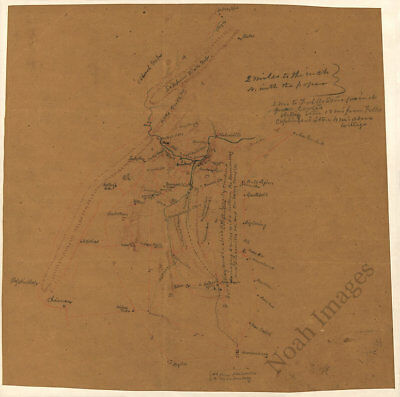 Map of parts of Rockingham and Shenandoah counties VA c1860s 16x16