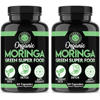 Moringa Oleifera 2 Pack 120 Pills Organic, Natural 100% Pure, Angry Supplements