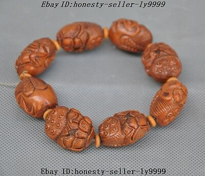 """6""""  Chinese Olive nucleus hand carved 18 Arhat buddha head beads statue Bracelet"""