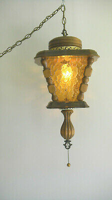 "Mid Century Amber Glass / Wood Coach Hanging Swag Lamp Light 22"" Vintage Wooden"