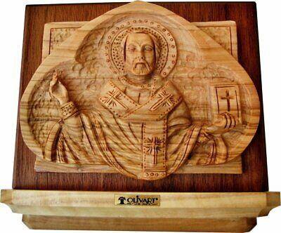 St Nicholas Christian Orthodox Icon - Small - Hand Carved Holy Land Olive Wood