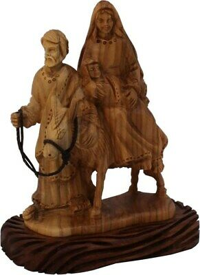 Holy Family Flight to Egypt Expressive Hand Carved Olive Wood Holy Land