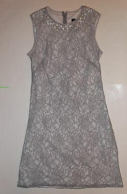 Nwt Adrianna Papell Gray Silver Lace Cocktail Dress Womens Size 8  Beaded Neckli