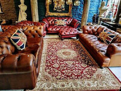 Vintage TETRAD Brown Leather 3 Seater Chesterfield Sofa