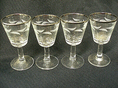 VINTAGE SET 4 FRENCH GLASS APERTITIF CORDIAL STEMWARE ETCHED with SILVER RIM 2oz