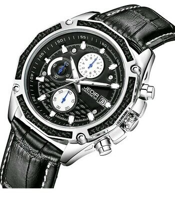 Burei JEDIR Men's Chronograph Quartz Watch Analogue black silver Stylish luxury